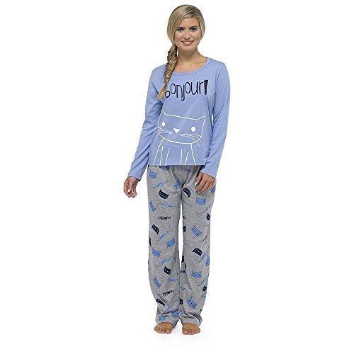Mujer Tacto Suave Jersey Manga Larga Set Pijama - Bonjour Gato, L: Amazon.es: Ropa y accesorios
