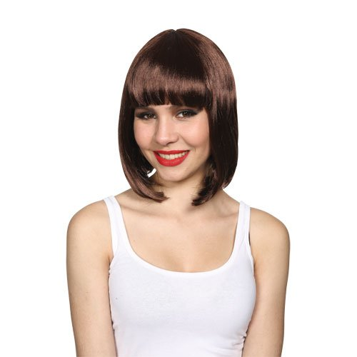 Wicked Costumes Vintage Style Sexy Flapper Long Bob Hairstyle Wig - Brown]()