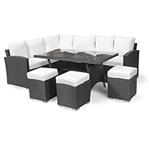 Harts Premium Rattan Corner Dining Sofa Set Large Table and 3 Stools Black