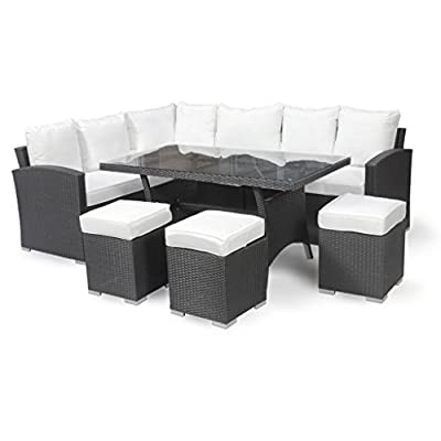 Harts Premium Rattan Corner Dining Sofa Set Large Table and 3 Stools Black