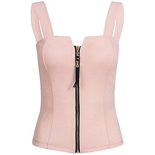 Farjiang Hot Sale Women's Sexy Summer Fashion Sleeveless Camisole Tank Zipper Top T-shirt (S,Pink)