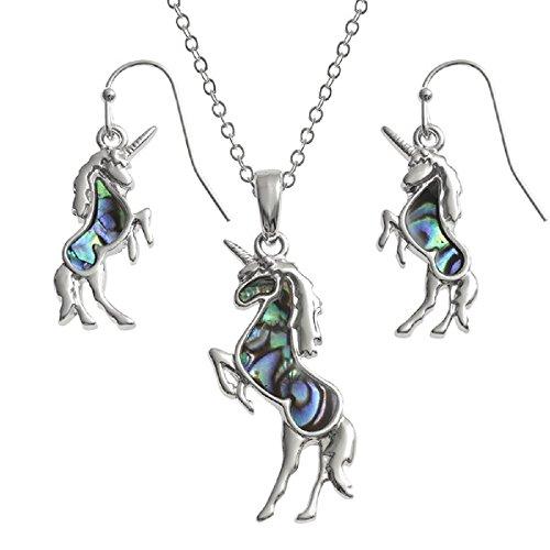La Quirky Pagan, unicornio conjunto de joyas pendientes y collar a juego, en los 18pulgadas rodio plateado TRACE cadena, pescado gancho pendientes, Abulón en azul verde Resplandece, hipoalergénico