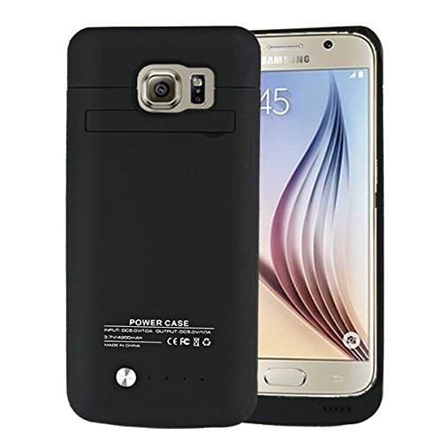 Galaxy S6 Battery case SQdeal US Stock 4200mAh Rechargeable External Backup Battery case ability Bank by using Kickstand easily transportable Charging case for Samsung Galaxy S6 G920 All Version Black Battery Charger Cases