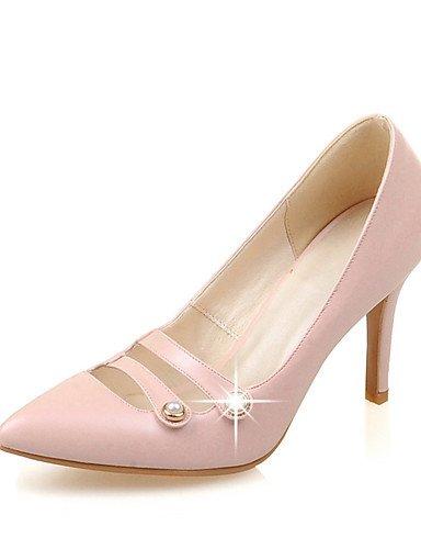 GGX/Damen Schuhe Frühjahr/Sommer/Herbst Spitz Zulaufender Zehenbereich Heels Hochzeit Kleid Stiletto Heel Nachahmung Pearlblack/ beige-us8.5 / eu39 / uk6.5 / cn40