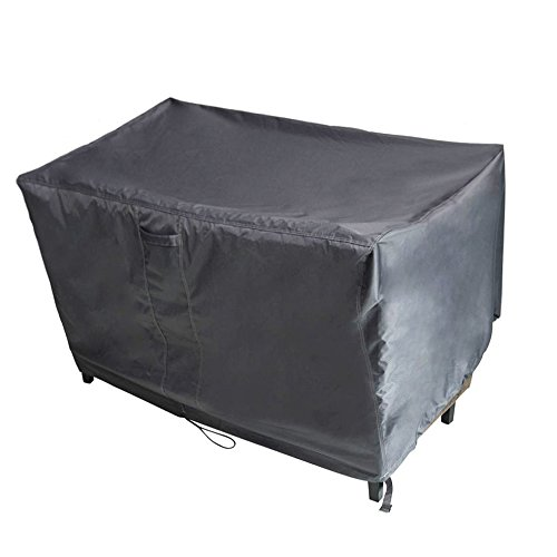M&H Patio Bench Seat Cover Premium Heavy Duty Waterproof TPU Fabric - Fits Bench Chairs, Rockers, and Gliders, Durable and Fade Resistant, 58 x 33 x 32 inch, Gunmetal (Outdoor Storage Bench Cover)