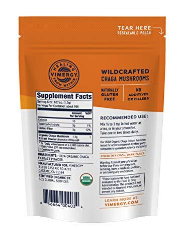 Vimergy USDA Organic Chaga Extract Powder (250g) by Vimergy (Image #1)