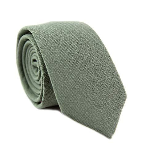 DAZI Men's Skinny Tie, Cotton Wool Linen Necktie, Great for Weddings, Groom, Groomsmen, Missions, Dances, Gifts. ()