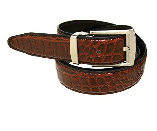 RDumani Men's Belt Brown Alligator Crocodile Embossed Leather 30mm 1.25
