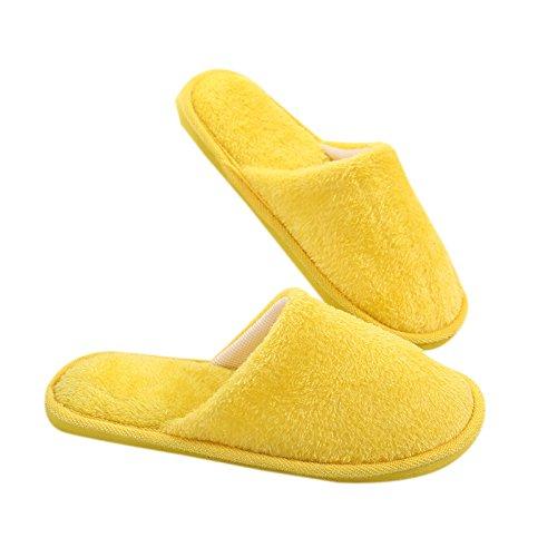 In Antiscivolo Da Lanlan Uomo Pantofole La Invernali Suola E Morbide Lunghe Articoli Peluche Casa Giallo Per ExqHpqzIw