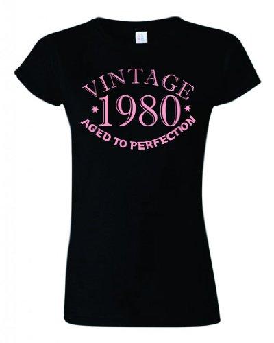 Vintage 1980invecchiato alla perfezione Womens Ladyfit maglietta in nero e rosa, motivo: