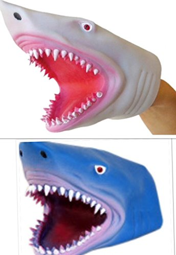 (S.S. 2 Pack - Soft Rubber Realistic 6 Inch Great Shark Hand Puppet (Blue and White))