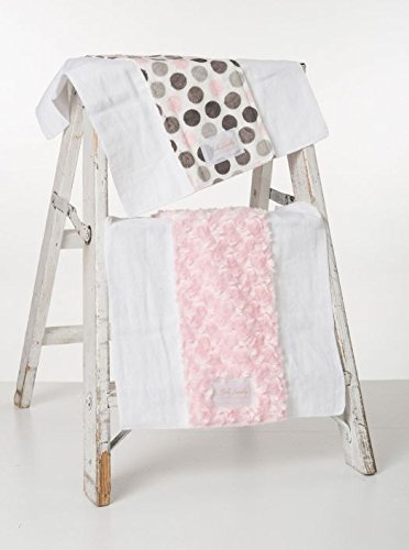 Baby Laundry Patterned Burping Cloth for Boys Girls, Set of 2 - Pink Dot/Pink Swirl Burpie (13''x17'')