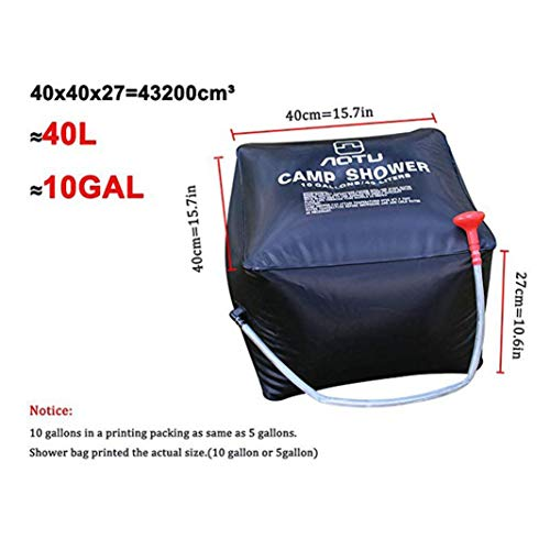 Feccile Sports & Outdoor Supplies,10 gallons/ 40L Portable Solar Heating Premium Camping Shower Bag with Removable Hose Shower Head for Hiking Climbing Summer Shower by Feccile Sports & Outdoor (Image #5)