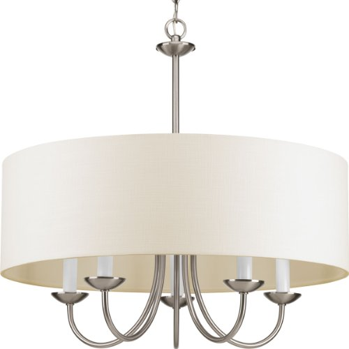 (Progress Lighting P4217-09 5-Lt. Chain Hung Fixture with Off-white linen fabric shade)