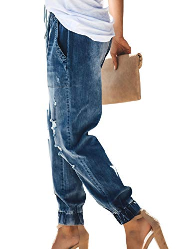 Denim Joggers Elastic Waist Stretch Pant