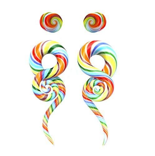 BodyJ4You 4PC Glass Ear Tapers Plugs 4G-14mm Rainbow Swirl Teardrop Spiral Gauges Piercing Set TP7053-12mm