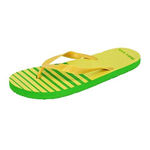 Mens Brave Soul Summer Beach Striped Casual Flip Flops Yellow dJxIoJItED
