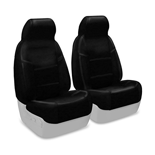 Coverking Custom Fit Front 50/50 High Back Bucket Seat Cover for Select Saturn SL/SL1 Models - Premium Leatherette Solid (Black)