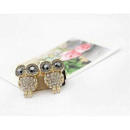 Gleader 1Pair Packed - Lovely Golden Super Bling Crystal Rhinestone Owl Earrings Ear Stud + (Crystal Belly Owl)