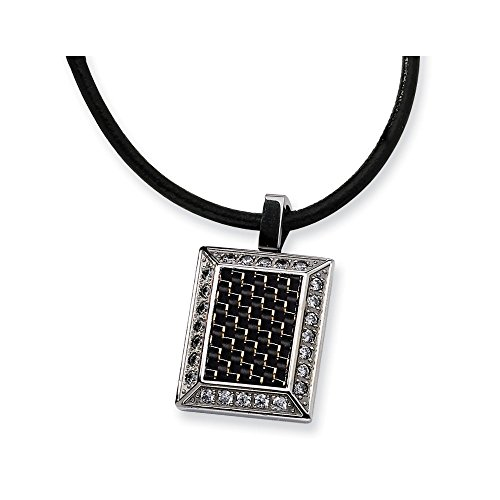 ICE CARATS Stainless Steel Gold Black Color Cubic Zirconia Cz Carbon Fiber Pendant Charm Necklace Man Fashion Jewelry Gift for Dad Mens for Him -