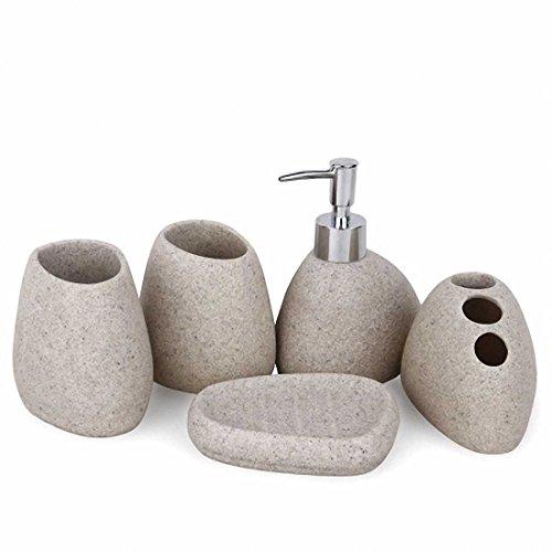 USTARAIL Bathroom Accessories set Special-shaped Sand White Design Soap Dish, Soap Dispenser, Toothbrush Holder & Tumbler Bathroom Set - Valsan Tumbler Holder