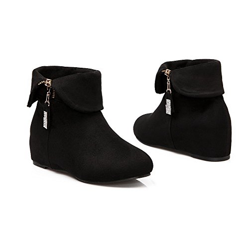 AgooLar Women's Frosted Round Closed Toe Solid Low-top Kitten-Heels Boots Black VRSJssK
