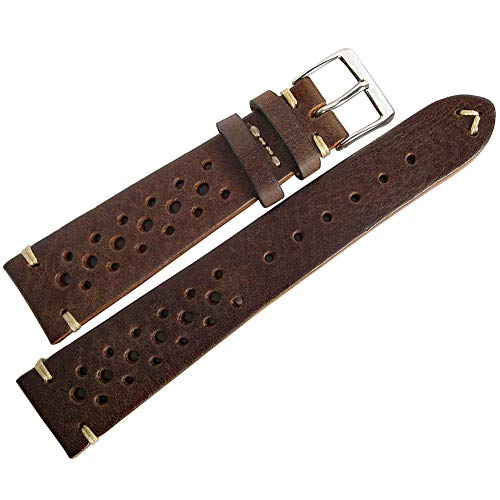 - Fluco Hunter Racing 20mm Brown Leather Watch Strap