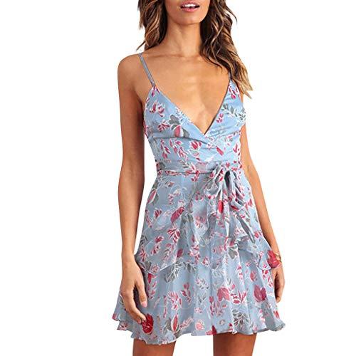 Women's Printing Off Shoulder Ruffle Hem Sleeveless Strappy Plain Short Party Slim Mini Dress ()
