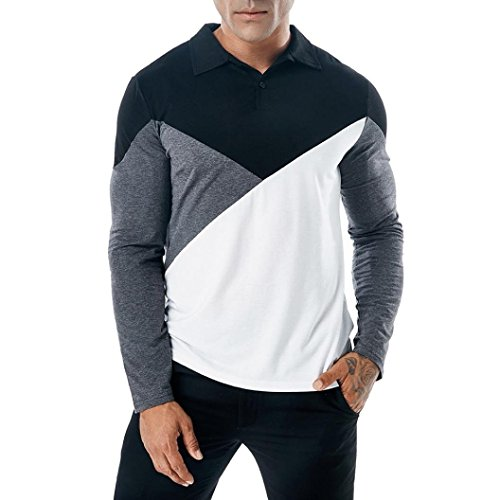 Sunhusing Men's Fashion Stitching Lapel Long Sleeve Polo Shirt Slim T Shirt Muscle Top (Mini Striped Polo Shirt)