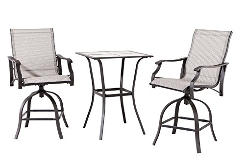 Backyard Classics Northcliffe 3-Piece Outdoor Sling Balcony (Bar Height Patio Furniture)