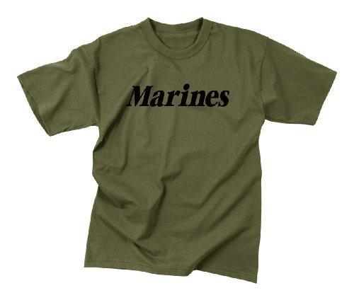Rothco Marines at Kids T-Shirt, Olive Drab, Large ()