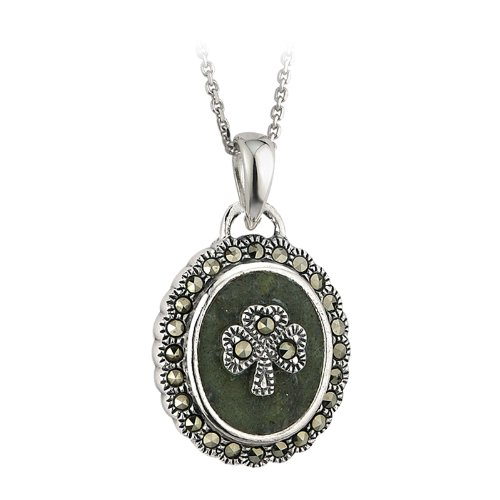 "Shamrock Necklace Marble & Marcasite 18"" Rolo Chain Irish Made"