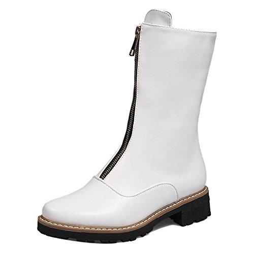 2 White COOLCEPT Fashion Boots Zipper Women Calf Mid Short 8U6APw