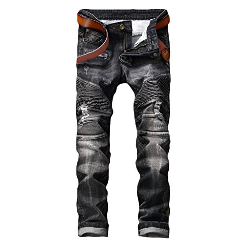 MAGE MALE Men'/s Ripped Biker Jeans Slim Fit Straight Destroyed Trousers With Zipper Deck Dark Grey01 32 W (Leather Slim Fit Jeans)