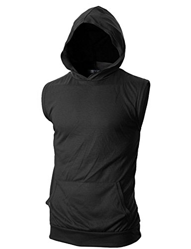 GIVON Mens Slim Fit Thin Super Lightweight Sleeveless Hoodie with Kanga Pocket/DCF015-BLACK-3XL