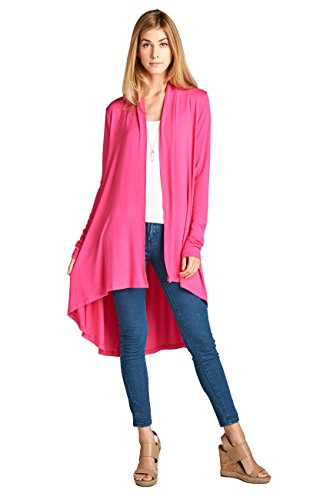 (ReneeC. Women's Extra Soft Natural Bamboo Long Open Front Cardigan - Made in USA (X-Large, Hot Pink))