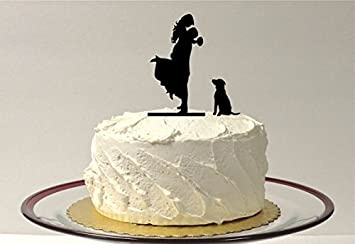 WITH DOG Silhouette Wedding Cake Topper Bride Groom Pet Lift Up Dancing