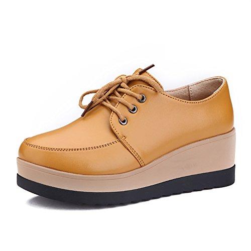 Zapatos de plataforma mujer/Primavera y otoño salvaje suela gruesa/zapatos tacón alto/Zapatos de cuñas/Encaje de zapatos casual/Viento de zapatos Inglaterra mujeres C