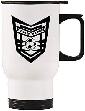 Voetbal thema15 Oz Verwarmde Auto Cup Eenvoudige Thermo Travel Mok Koffie Cup Met Handvat Gepersonaliseerde Geschenken Voor Echtgenoot Papa Mama Opa Oma