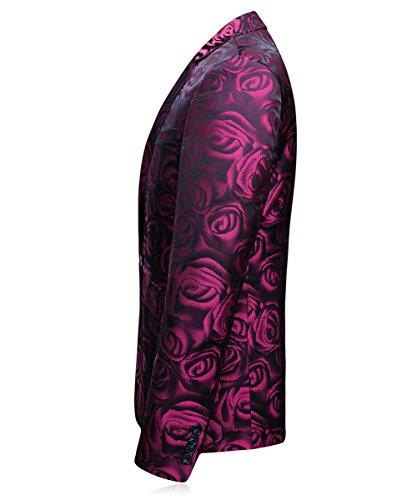 Giacca Moderna Pezzi 1 Uomo Floreale Tasto Rosa E Mogu Sportiva Della Gilet Pantaloni 3 vAq48