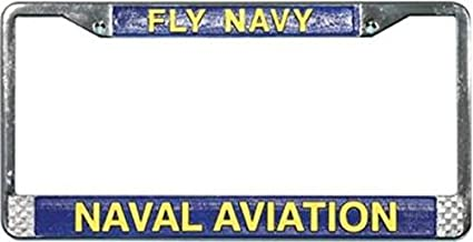 Fly Navy Naval Aviation in Gold Raised Letters Chrome License Plate Frame