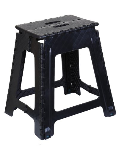 Folding Step Stool 18 Inch (Black) by Superior Performance