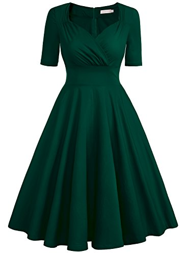 EA Selection Damen Kleid 50er Rockabilly Rueschen Halbe Huelse Cocktailkleid Dunkelgruen L