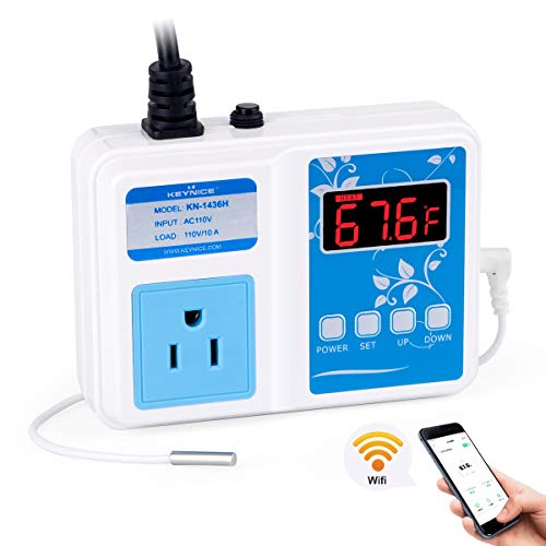 KEYNICE Wi-Fi Temperature Controller, Wireless Digital Outlet Thermostat, Heating and Cooling Mode, 110V 8A Thermometer for Brewing Fermentation, Seed Germination, Incubator, Aquarium