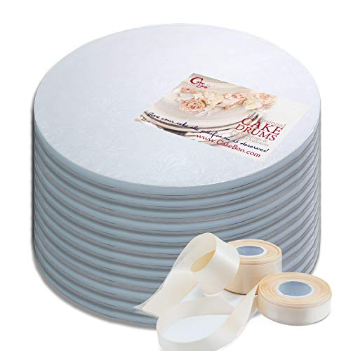 Cake Drums Round 14 Inches - Sturdy 1/2 Inch Thick - Professional Smooth Straight Edges - FREE Satin Cake Ribbon (White, 12-Pack) (Round Drum)