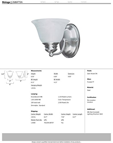 Maxim 2686FTSN Malaga 1-Light Wall Sconce Bath Vanity, Satin Nickel Finish, Frosted Glass, MB Incandescent Incandescent Bulb , 100W Max., Dry Safety Rating, Standard Dimmable, Glass Shade Material, 4600 Rated Lumens by Maxim Lighting (Image #1)