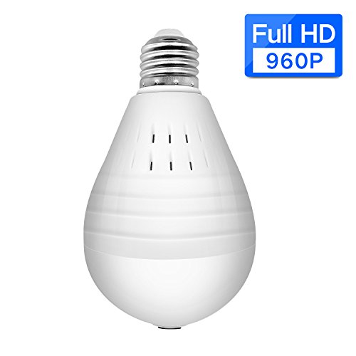 SDETER IP light bulb camera 960P Wifi Wireless IP Bulb Security Camera with Fisheye Lens 360 Panoramic for Remote Home Security System,Motion Detection and Two Way Talking for PC/Phone/iPad