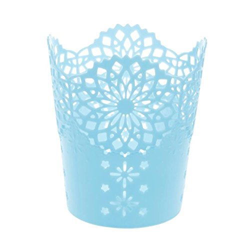 Hollow Flower Pattern Cylinder Desk Office Supplies Make Up Brushes, Plastic Pen Pencil Pot Holder Organizer Stationery Container(Blue) (Pattern Flower Hollow)