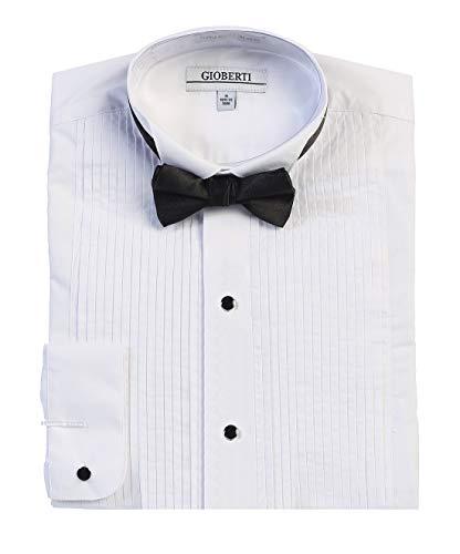 Gioberti Men's Wing Tip Collar Tuxedo Dress Shirt with Bow Tie, White, X-Large (35/36)