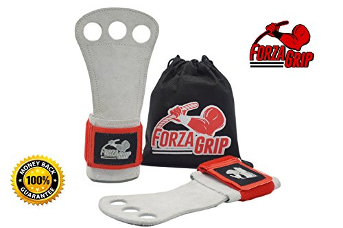 Cross Training Workout Gloves with DOUBLE WRIST SUPPORT Gymnastic Hand Grips, Weight Lifting WODs and Gym - Comfort and Max Protection - With FREE Carrying Bag (Gorilla Chalk Bag)